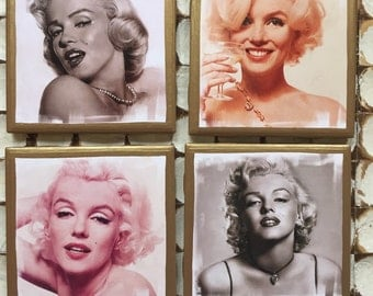 COASTERS!! Marilyn Monroe Set of Coasters with Gold Trim