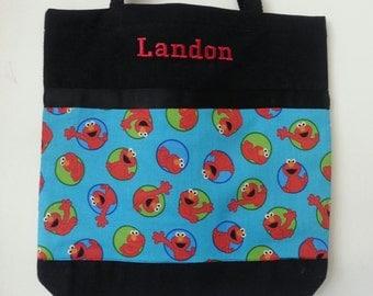 Elmo Tote Bag, Canvas bag with cotton fabric, Elmo handmade tote bag, Overnight bag, Book bag, Toy bag, Free Embroidery!