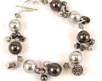 Black Diamond Swarovski Charm Bracelet