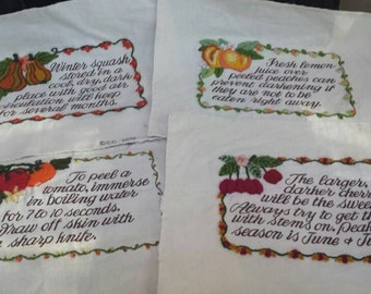 Vintage 1975 vegetable embroidery. Retro kitchen decor, unframed, needlepoint