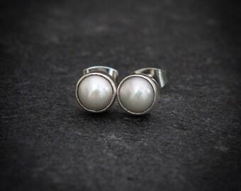 Pearl Stud Earrings, Freshwater Pearl Earrings, Round Stud Earrings, White Pearl Earrings, Sterling Silver