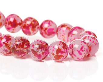 Pink Red Fuchsia Speckle Wholesale 8mm Glass Beads - 50/100/200 Beads For Jewelry Making G8766