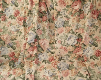 """Window curtains Lined curtains French country curtains Shabby chic curtains  Pastel floral curtains Rose print  curtains 50""""L x 50""""W  A1328"""