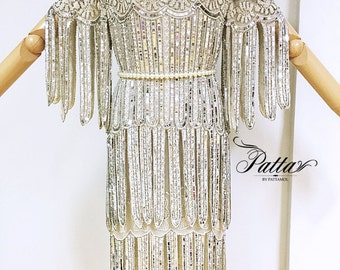 RARE Vintage hand embroidered sequins beads flapper fringe dress, art deco gatsby party disco dress