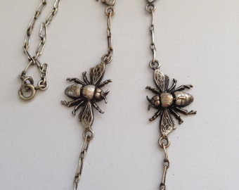 Victorian Sterling Silver Bee Necklace