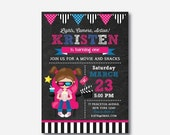 Movie Birthday Invitation, Movie Invitation, Movie Night Party Invitation, Cinema Party, Girl Invitation, Personalized, Chalkboard (CKB.462