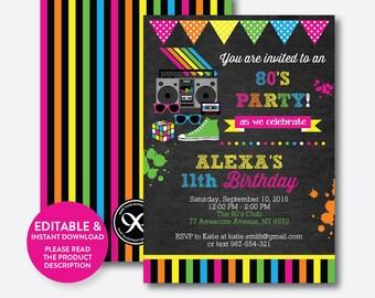 Sofortiger Download, Editierbare 80er Jahre Geburtstags Einladung, 80er  Jahre Einladung, 80er Jahre
