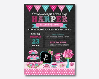 Tea Party Birthday Invitation, Tea Invitation, Tea Time Party Invitation, Girl Tea Party Invitation, Pink, Personalized, Chalkboard(CKB.506)