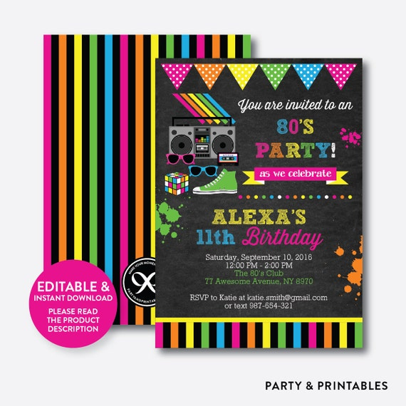 Instant Download Editable 80s Birthday Invitation 80s Invitation