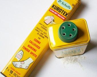 Vintage Foot Powder / Dr Scholls Moleskin and Foot Deodarant Powder