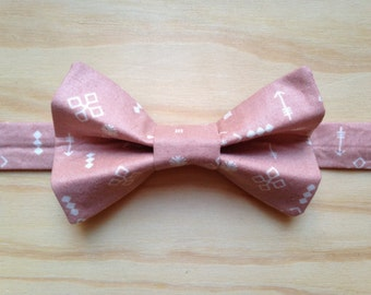 Pink and White Symbols bowtie