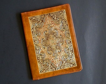 Ornate gilt  leather notebook memories flowers photos Italy