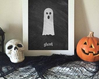 Ghost Halloween Art - Chalkboard Print, Chalkboard Halloween, Halloween Print, Halloween Decor, Cute Halloween, Halloween Party