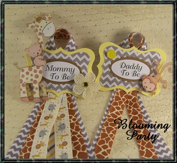 Safari Baby Shower Corsage: Set Of Safari Mommy To Be And Daddy To Be Baby Shower Corsage