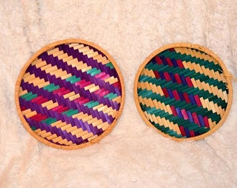 Set of 3 African Handmade Reed Shallow Bowls