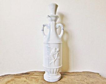 Vintage White Glass Decanter, Liquor Decanter, 1971 Jim Beam White Slag Bottle, Marbled White Glass, Milk Glass