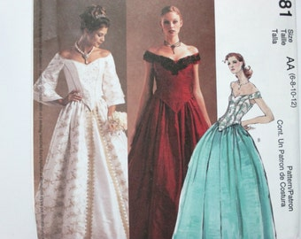McCall's Evening Elegance 3681 ~ Off-Shoulder Evening Top with Boned Bodice and Flared Skirt SIZE 6- 8-10-12 UNCUT Sewing Pattern