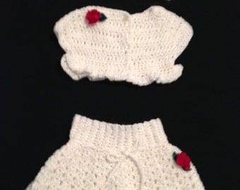 Hand crocheted baby girl skirt set newborn
