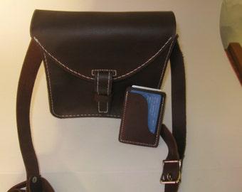2 Items Pack - Leather Messenger Bag Shoulder Bag Crossbody Bag Leather Satchel Bag and Credit Card Holder