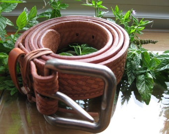 Handmade Leather Belt with Basket wave Tooling and heavy duty buckle