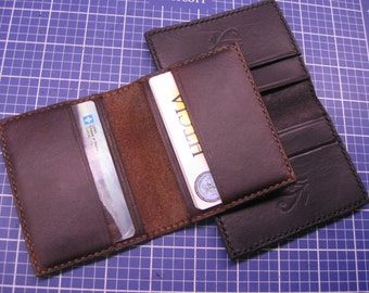 Elegant Handmade Leather Business Card Holder, Credit card holder, Simple Bi-Fold Card Holder