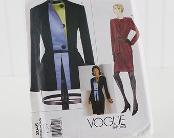 Vogue Jacket and Skirt Pattern, Geoffrey Beene, UNCUT Sewing Pattern, V2045, Size 8-12