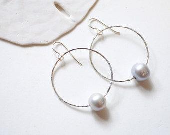 Pearl Hoop Earrings, Sterling Hoop Earrings, Silver Pearl Earrings, Large Hoop Earrings, Single Pearl Hoops