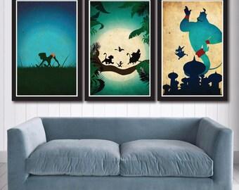 Vintage Disney Poster Set -  Jungle Book, Lion King, Aladdin