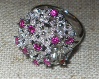 1960s floral silver ring