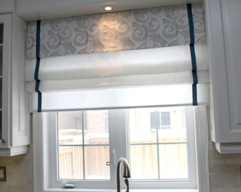 "Flat sheer Roman Shade ""Pinnacle Combo"" with border and chain mechanism, Roman Shades, Window Treatment, Custom Made"