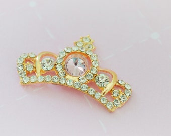 42mm Hime Princess Tiara Crown Rhinestone Gold Metal Alloy Charm Decoden Cabochon - 1 piece