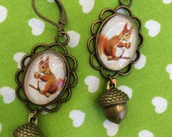 Earrings squirrels squirrel with Acorn - earrings