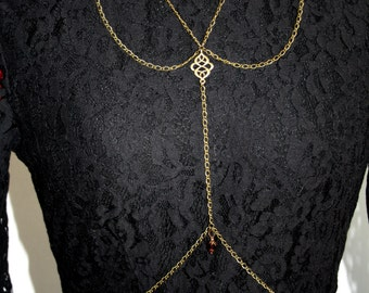 Body chain with ornament, body jewelry, bodychain