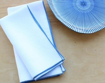 Small Linen Napkins, White Linen Napkins, Cloth Dinner Napkins, Blue and White Wedding, Wedding Napkins, Event Napkins, Set of 4, 17""