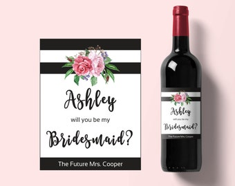 Baby Shower Wine Label Pink Heart And Confetti Valentine - Bridesmaid wine label template