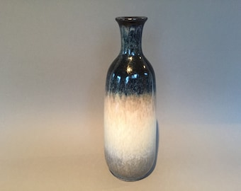 Walter Gerhards Keramik 521-26   grey / white / blue vintage  vase, elegant shape Mid Century 1970s  West Germany Pottery.