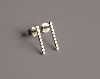 Ball bar earrings 925 Silver bar dotted points