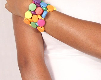 Multi Colored Assorted Wooden Bracelet