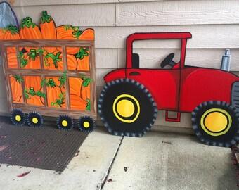 Red Tractor- Tractor Yard Decor-Harvest Fall Decor- Plywood Yard Decoration- Yard Art- Farm Cutout- Wagon Yard Cutout- Wagon Decor- Pumpkin