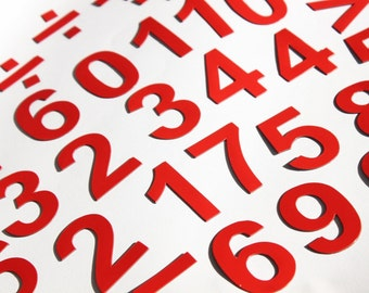 """2"""" Magnetic DIGITS on the Fridge, Magnets, 5 cm RED Magnetic Numbers, MagWords"""