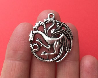 4 Three Dragon Charm Antique Silver  3.1cm x 2.8cm - SC692