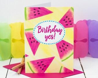 Tropical Birthday Card; 'Birthday Yes!' Rio Card; Watermelon Card; Fiesta Card; Garden Party Card; GC439