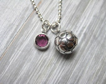 Soccer Necklace Soccer Jewelry Birthstone Jewelry Sterling Silver Soccer Player Gift Soccer Team Coach Gift Soccer Ball