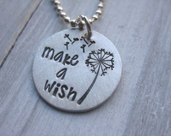 Make a Wish Dandelion Necklace Sterling Silver Hand Stamped Best Friend Tween Necklace Girls Necklace Teen Gift Inspirational Jewelry Lucky