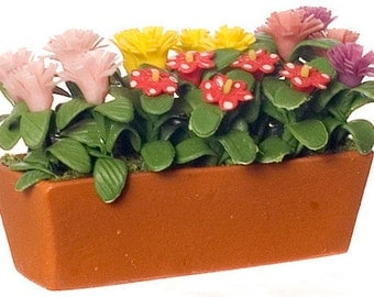 DOLLHOUSE MINIATURE Assorted Flowers In Planter #N8224