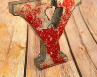 A fantastic vintage style metal 3D red letter Y