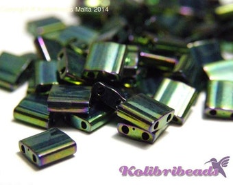 10 gr Miyuki Tila Beads 5 x 5mm - Metallic Green Iris (468)