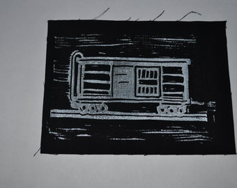 Boxcar. Hand Printed Patch.