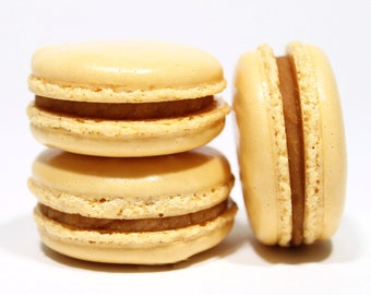 Salted Caramel French Macarons --Gift Box of 10 Cookies--Best French Macaron-- Bisou Bisou