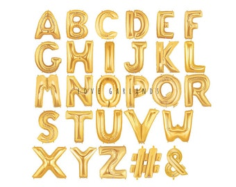 14 metallic gold letter balloons gold number balloons alphabet letter balloons number balloons custom name balloons air filled balloon
